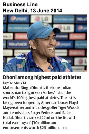Dhoni among highest paid athletes